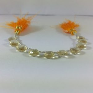honey quartz heart beads