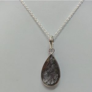 black rutile pear pendant