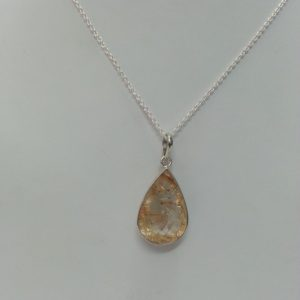 golden rutile pear pendant