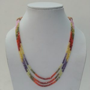 multi color cubic zirconia beads necklace