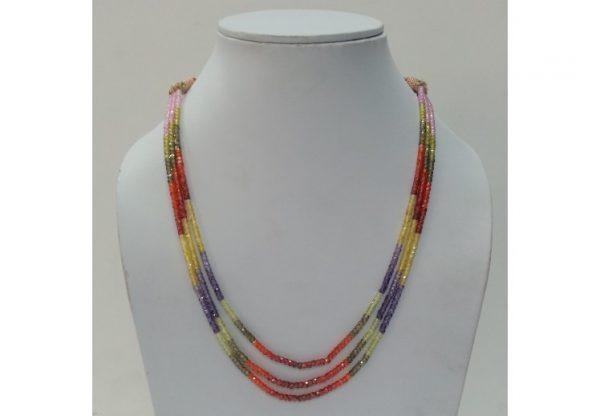 multi color cubic zirconia beads necklace