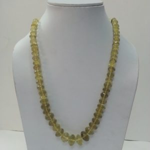 lemon quartz beads necklace