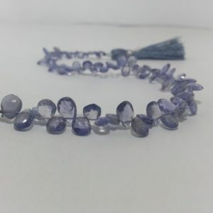 iolite pear beads
