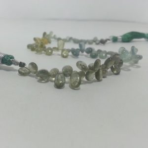 moss aquamarine pear beads