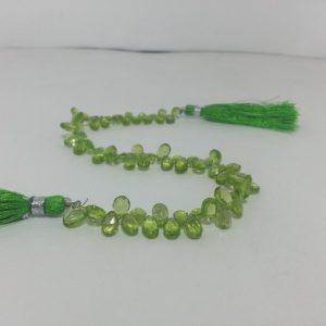 peridot pear beads