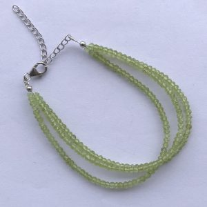 ON SALE - Natural Peridot Faceted Rondelle Beads Bracelet