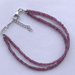 ON SALE - Natural Rhodolite Garnet Faceted Beads Bracelet