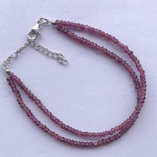 ON SALE - Natural Rhodolite Garnet Faceted Beads Bracelet