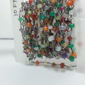 multi gemstone rosary chain