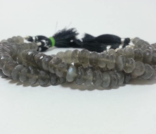 Grey Moonstone Gemstone Faceted Rondelle Beads AAA 7mm-9mm Beads 16inch Strand Natural Gray Moonstone Semi Precious Gemstone Fire Beads