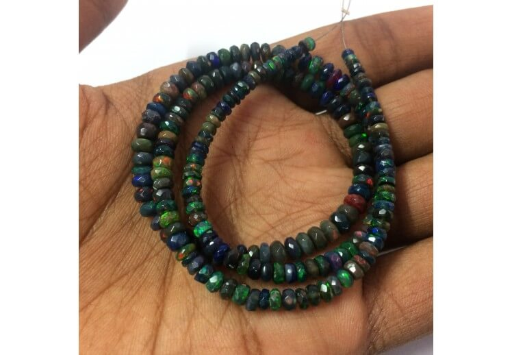 1 Strand Natural Fire Ethiopian Welo Opal Smooth Rondelles Ethiopian Plain Rondelles Beads 3mm-7mm 16.5 Inch BR3170