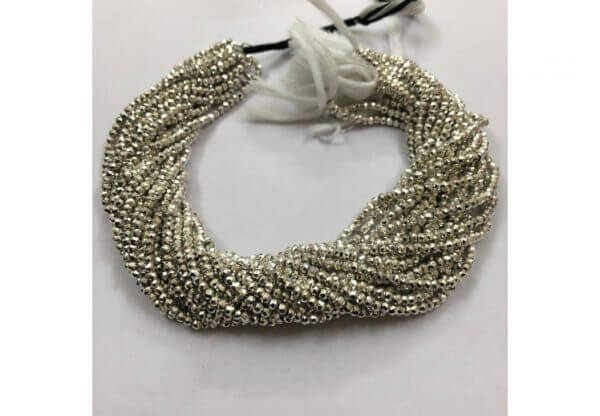 4mm silver pyrite beads