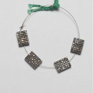 rectangle pave diamond bead